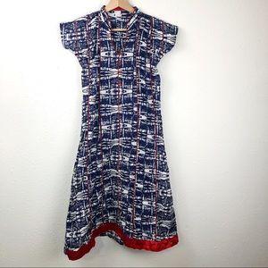 Batik Dress Blue White with red trim Size XS